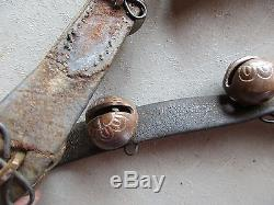 10 Vintage Horse Sleigh Bells, 10 Brass Bells On Leather Harness #chi-00482