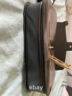 100% Authentic Vintage Celine Black Leather box Shoulder bag with Horse Cartridge