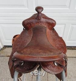 11 Vintage Kids Tooled Leather Western Pony/Mini Horse Saddle w Tapaderos