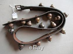 12 Vintage Horse Sleigh Bells 12-unique Brass Bells On Leather Strap #chi-00484
