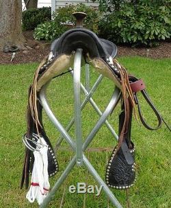 12 Vintage Kids Leather Western Pony/Mini Horse Saddle w Tapaderos & Dots