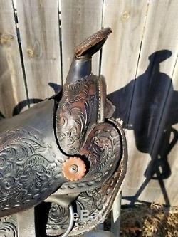 12 Vintage Western Leather Tooled Pony/Kids Saddle withHorse Head No Tapaderos