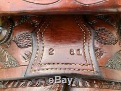 14 G. H. VAUGHT Handmade Vintage Western Ranch Horse Saddle w Bear Trap