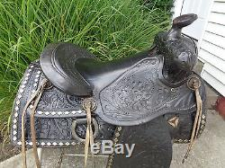 14 Vintage Black Leather Western Horse Parade Saddle w Tapaderos