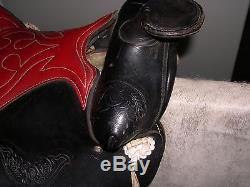 14 Vintage Black Leather Western Horse Saddle Original White Ties & Conchos