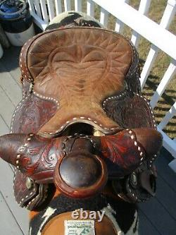 14'' Vintage King Brand Big horn Buckstitched Tooled Western Saddle QH BARS