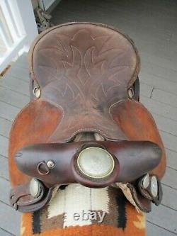 14'' Vintage Red Ranger Western Brown Leather Barrel Saddle Qh Bars