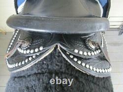 14'' Vintage Western Arabian Black Leather Studded Slick Seat Parade Saddle