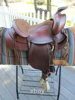 14'' Vintage Western Brown Leather Roper Ranch Saddle #493 Qh Bars