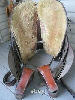 14'' Vintage Western Brown Leather Roper Slick Seat Trail Ranch Saddle Sqh Bars