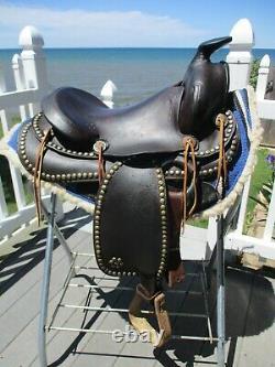 14'' Vintage Western Brown Leather Slick Seat Trail Ranch Parade Saddle Sqh Bar