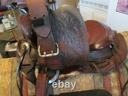 14'' Vintage Western Brown Leather Slick Seat Trail Ranch Saddle #260