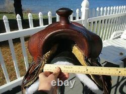 14'' Vintage Western Brown Leather Slick Seat Trail Ranch Saddle #4944 Sqh Bars