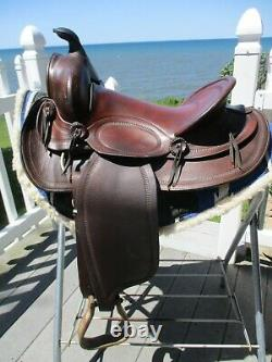 14'' Vintage Western Brown Leather Slick Seat Trail Ranch Saddle Sqh Bars