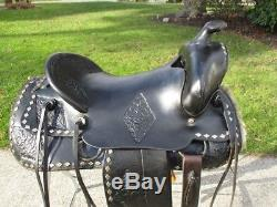 15.5 Vintage Black Leather Western Horse Parade Saddle