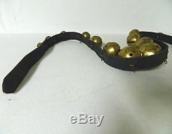 15 Graduated Vintage Brass Sleigh Bells on 71 Leather Horse Harness Strap Belt