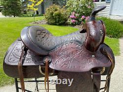 15 Vintage ACORN TOOLED Leather Western Horse Saddle QUALITY