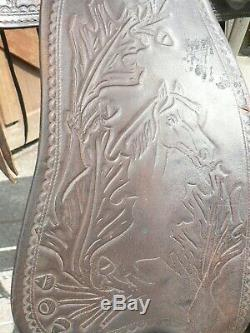 15 Vintage Acorn + Horse Tooled Brown Leather Ranch Trail Western Saddle