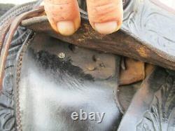 15'' Vintage Black Leather Western Tooled Saddle Sqhb 32.5 Lbs