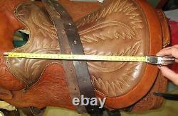 15'' Vintage Bona Allen Tooled Western Saddle with Saddle Blanket