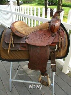 15'' Vintage Brown Leather Western Tooled Saddle Sqhb