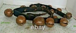 15 Vintage Petal Type Brass Horse Sleigh Bells on 42 Leather Strap with Iron Ring