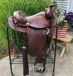 15 Vintage Round Skirt Tooled Western Horse Saddle