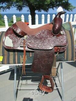 15'' Vintage Textan Brahma Brand Western Tooled Trail Saddle Qh Bars