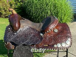 15 Vintage Tooled Western Horse Saddle