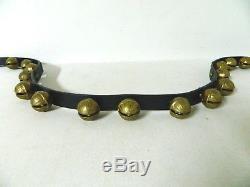16 Vintage Brass Sleigh Bells (Size 4) on 64 Leather Horse Harness Strap Belt
