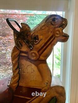 1930s Antique Wood & Leather Fairground Merry Go Round Carousel Horse Seat