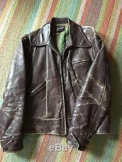 1940's Vintage Horse Hide Leather Jacket Size 38-40