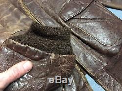 1950'S Oakbrook Sportswear Horse Hide Brown Leather Bomber Jacket Sears