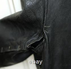 1950s Horse Hide Black Leather Biker / Police Jacket Men's XS / S, Vintage