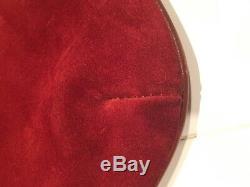 1960's Authentic Celine HORSE CARRIAGE bag Red Burgundy Suede Bought Paris VTG