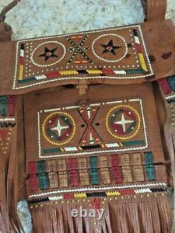 1970s Vintage Ethnic Tuareg AFRICAN FRINGE Bag Embroidered Leather Handbag