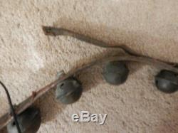 21 Graduated Vintage Brass Sleigh Bells on 88 Leather Horse Harness Strap Belt