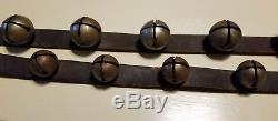 25 Graduated ANTIQUE Brass Sleigh Bell Horse Harness VINTAGE Leather 89 Texas