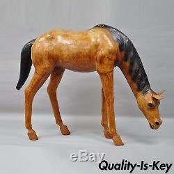 30 H Vintage Equestrian Tooled Leather Wrapped Horse Statue Scultpure