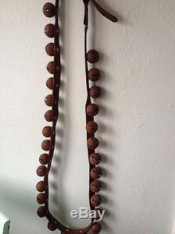 30 Vintage Antique Horse Sleigh Bells 72 Leather Strap