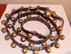 36 Vintage Horse Brass Sleigh Bells On Leather Strap Harness 106
