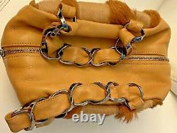 $3600 Chanel Vintage Beige Lambskin Pony/ Horse Hair Small Bag Tote Authentic