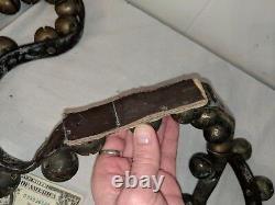 41 Vintage Antique Primitive 1 Horse Sleigh Bells Old 86 Leather Strap Broken