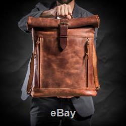 ADIMANI Vintage Crazy Horse Hunter Leather Backpack Bag Notebook