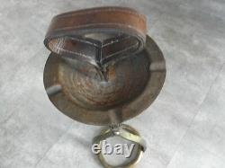 ART DECO SMOKING STAND ASHTRAY JACQUES ADNET horse LEATHER WROUGHT vintage