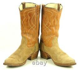Acme Two Tone Roughout Suede Cowboy Boots Snip Toe Vintage US Made Men's 10.5 D