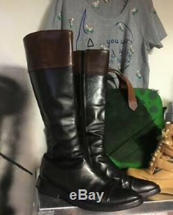 Ann Demeulemeester leather boots black brown Vintage Size 39 horse riding witch