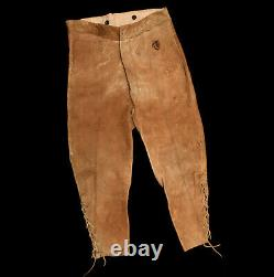 Antique 19th Century Indian War Cavalry Scout Hand Sewn Brain Tan Leather Pants