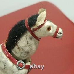 Antique German Horse Nodder Miniature Flocked Leather Toy