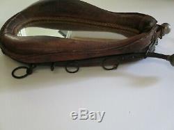 Antique Horse Tack Collar Mirror Leather Americana Sculpture Western Vintage